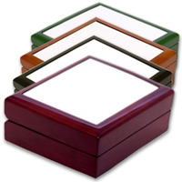 "4"" x 4"" Jewelry Box with Sublimation Photo Tile Lid Insert"