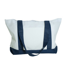 PhotoMugs.com - Panel Tote Bag, Navy Blue and White